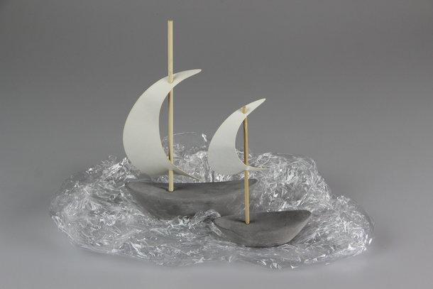 Beton-Deko-Objekt Segelschiff