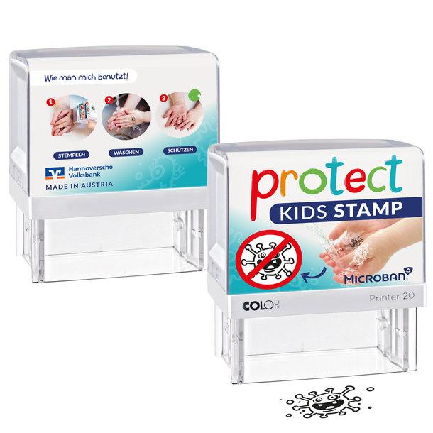 Corona - Protect Kids Stempel - Motivation zum Hände waschen