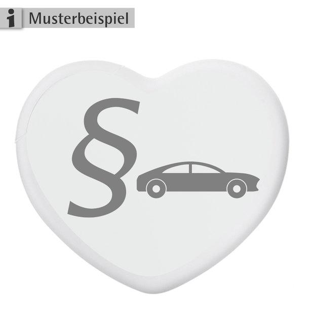 Pfefferminz-Herz mit Paragraphen-Logo