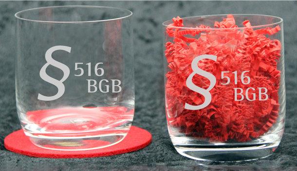Longdrinkgläser - Gläser mit besonderem §-Paragraphen-Logo