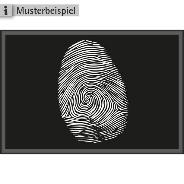 FA für Strafrecht - Teppich mit Fingerabdruck, weiß auf schwarz