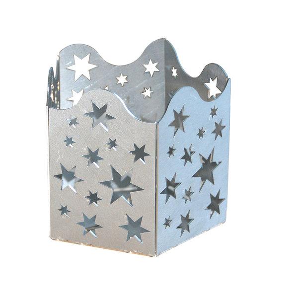 Teelichthalter aus Edelstahl mit Sternen